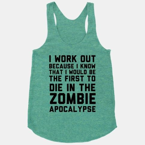 Zombie apocalypse workout clothes. Featured on pinkmitten.com #workoutclothes #exerciseclothes #zombies