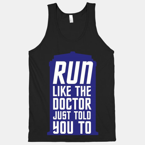 """Run Like The Doctor Just Told You To"" workout clothes. Featured on pinkmitten.com #workoutclothes #exerciseclothes #doctorwho #tardis"