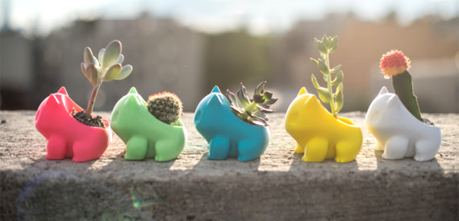 3D Printed Bulbasaur Pokemon Garden Pot as featured on @pinkmitten. #gardenpot #flowerpot #plantpot #Pokemon #bulbasaur