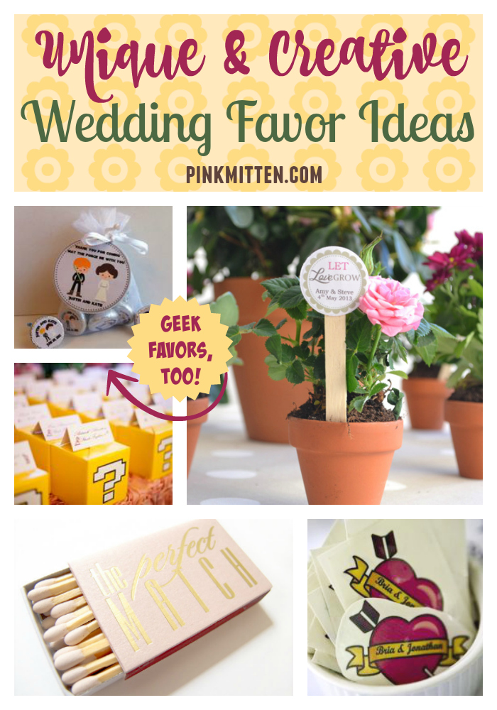 Unique and creative wedding favor ideas - including fun geek favors! As featured on @pinkmitten.com #weddingfavors #weddingfavours #geekwedding #weddingideas