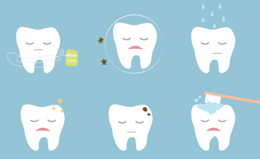 Sad teeth in pain